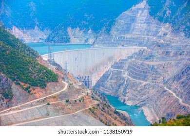 The Deriner Dam, a concrete arch dam on the Coruh river - Artvin, Turkey