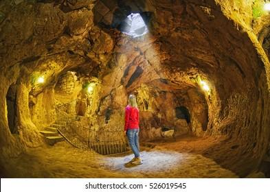 Derinkuyu cave  underground city, Cappadocia , Turkey .Travel background