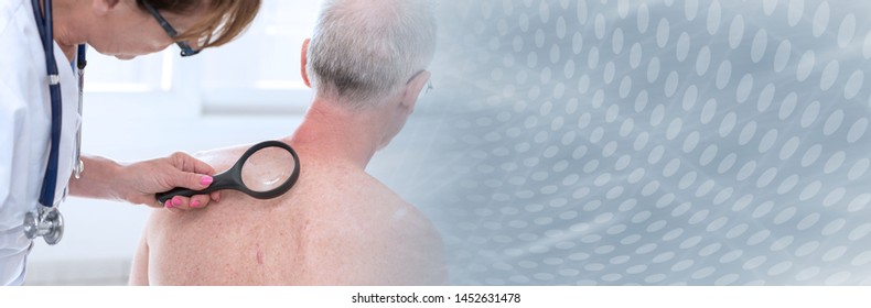 Dermatologist examining the skin on the back of a patient; panoramic banner