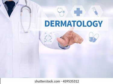 DERMATOLOGY Medicine doctor working with computer interface as medical
