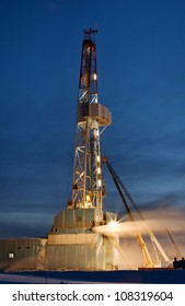 Derrick erection in western Siberia. The drilling beginning.