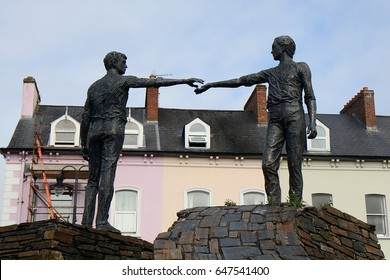 DERRY, NORTHERN IRELAND - APRIL 23: Across the Divide Statue 23 April, 2017 at Derry. Derry is divided by the Catholic and Anglican parts.