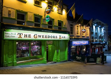 DERRY, NORTHERN IRELAND - May 1, 2015: The Gweedore Bar, Peadar O'Donnells and Tracy's Bar, traditional Irish pubs in Waterloo Street, Londonderry