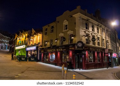 DERRY, NORTHERN IRELAND - May 1, 2015: The Gweedore Bar, Peadar O'Donnells and Tracy's Bar, traditional Irish pubs in Waterloo Street