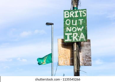 DERRY, NORTHERN IRELAND - May 1, 2015: A Brits Out Now IRA sign in Bogside neighbourhood of Londonderry