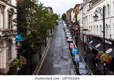 Derry, Northern Ireland - October 2018 - A view on the beautiful streets of Derry (Londonderry) with typical buildings.