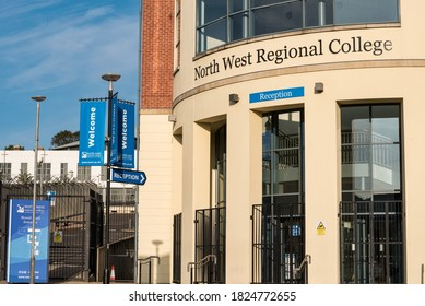 Derry, Northern Ireland- Sept 19, 2020: The front entrance and sign for the North West Regional College in Derry Northern Ireland.