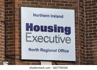 Derry, Northern Ireland- Sept 27, 2020: The sign for Northern Ireland Housing Executive in Derry.