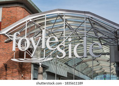 Derry, Northern Ireland- Sept 27, 2020: The Entrance to Foylside shopping centre in Derry.