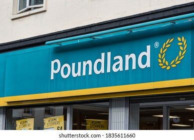 Derry, Northern Ireland- Sept 27, 2020: The sign for Poundland in Derry.