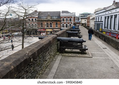 DERRY, NORTHERN IRELAND, UK - MARCH 28TH, 2015 : Cannons located on the north east section of the old city wall in Londonderry, also known as Derry.