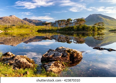 Derryclare Lough, Connemara mountains in the background in Ireland.