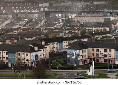 Derry,Northern Ireland,UK-9th November: catholic neighbourhood of Bogside;you can see big political republican murals against British occupation ; Derry,Northern Ireland,UK,Europe on 9th November 2014