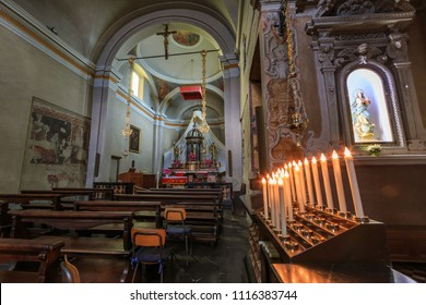 DERVIO, ITALY - APRIL 30th 2018: Indoors of the Parrocchia Prepositurale Ss.Pietro E Paolo church standing in the center of the Italian village Dervio by the Como lake.