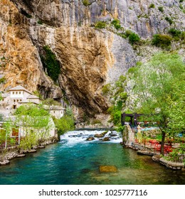 Dervish monastery or tekke at the Buna River spring in the town of Blagaj, Bosnia