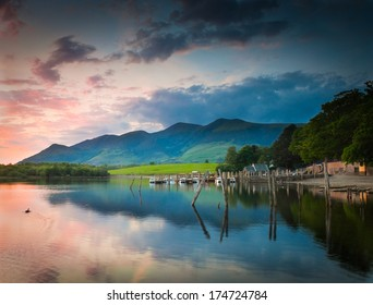 Derwent Water and dramatic mountain backdrop, Lake District, UK.