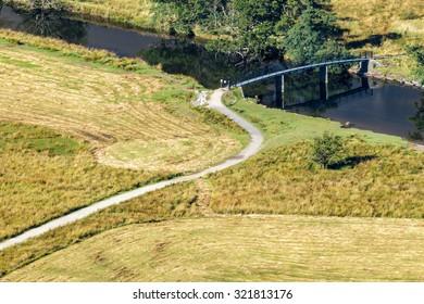 DERWENTWATER, LAKE DISTRICT/ENGLAND - AUGUST 31 : View of a bridge from Surprise View Derwentwater in the Lake District England on August 31, 2015