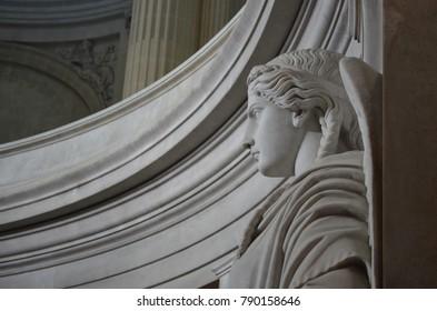 HÔTEL DES INVALIDES, PARIS/FRANCE - DECEMBER 2017: Detail of a statue around the tomb of Napoleon Bonaparte, Paris/France.
