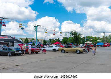 DES MOINES, IA - JULY 6, 2019: Classic Cars and Hot Rods at the Goodguys 28th Speedway Motors Heartland Nationals at the Iowa State Fairgrounds