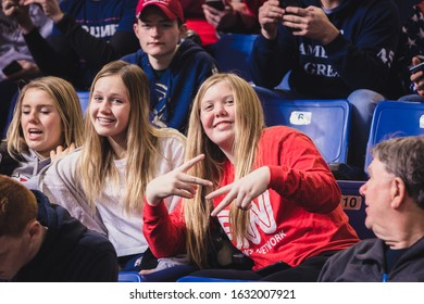 Des Moines, IA / USA - 01/30/2020: Enthusiastic Trump supporters waiting for the arrival of President Donald J. Trump on Thursday 01/30/2020 at his Keep America Great Again rally in Des Moines, Iowa.