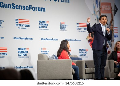 DES MOINES, IA/USA-AUGUST 10, 2019:  Andrew Yang speaks to potential voters regarding gun control at a rally organized by Mom's Demand Action, Students Demand Action, and Everytown for Gun Safety