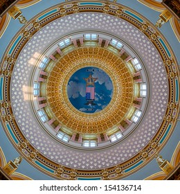 DES MOINES, IOWA - AUGUST 19: Interior dome from the rotunda of the Iowa State Capitol building on August 19, 2013 in Des Moines, Iowa