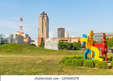 DES MOINES, IOWA - JULY 11, 2018: Des Moines, Iowa Skyline from the Pappajohn Sculpture Park