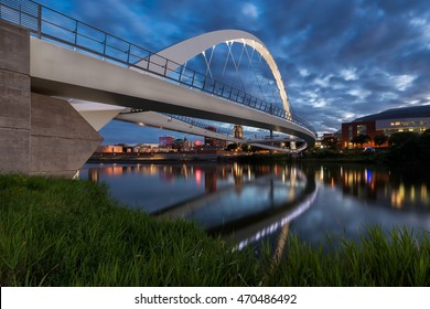 DES MOINES, IOWA - JULY 15: Iowa Women of Achievement Bridge over the Des Moines River on July 15, 2016 in Des Moines, Iowa