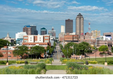 Des Moines, Iowa - JULY 16: Downtown Des Moines from the stairs of the Iowa State Capitol on July 16, 2016 in Des Moines, Iowa