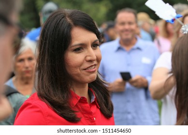 Des Moines, Iowa - September 21, 2019:  Tulsi Gabbard, Hawaii Congresswoman and Democratic Presidential Candidate, attends a political rally in Des Moines, Iowa.