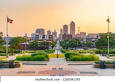 Des Moines, Iowa skyline from the state capital at sunset
