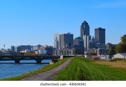 Des Moines Iowa skyline taken from the bike path next to the Des Moines River in Autumn