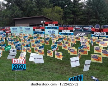 Des Moines, Iowa / US - September 21, 2019: A sea of signs supporting 2020 presidential candidates at the Polk County Democratic Party Steak Fry. 131443