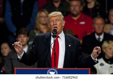 Des Moines Iowa, USA, 8th December, 2016 President Elect Donald Trump at the Victory thank you rally in Des Moines. Trump addresses the crowd of supporters that swept him to victory in the campaign