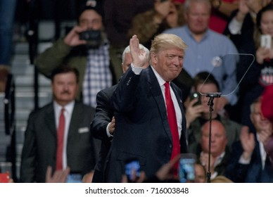 Des Moines Iowa, USA, 8th December, 2016 President Elect Donald Trump at the Victory thank you rally at the Hy-Vee Hall.Trump addresses the supporters that swept him to victory in the campaign.