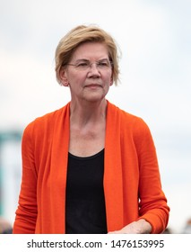 Des Moines, Iowa / USA - August 10 2019: United States Senator and Democratic presidential candidate Elizabeth Warren greets supporters at the Iowa State Fair political soapbox in Des Moines, Iowa.