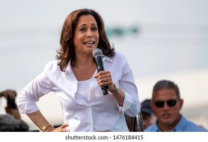 Des Moines, Iowa / USA - August 10, 2019: United States Senator and Democratic presidential candidate Kamala Harris greets supporters at the Iowa State Fair political soapbox in Des Moines, Iowa.