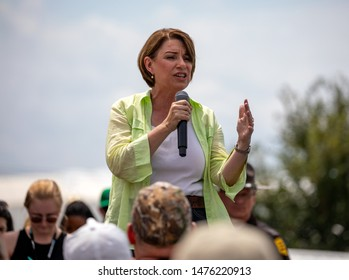 Des Moines, Iowa / USA - August 10 2019: United States Senator and Democratic presidential candidate Amy Klobuchar greets supporters at the Iowa State Fair political soapbox in Des Moines, Iowa.