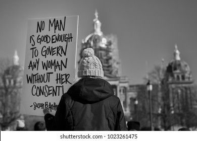 Des Moines, Iowa, USA - January 20, 2018: No Man is Good Enough - Protest sign seen at the Iowa Women's Rally at the Iowa State Capitol on January, 20, 2018.