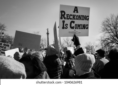 Des Moines, Iowa, USA - January 20, 2018: A Reckoning Is Coming - Protest sign seen at the Iowa Women's Rally at the Iowa State Capitol on January, 20, 2018.