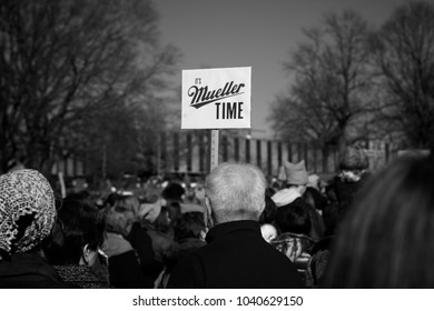 Des Moines, Iowa, USA - January 20, 2018: It's Mueller Time - Protest sign seen at the Iowa Women's Rally at the Iowa State Capitol on January, 20, 2018.
