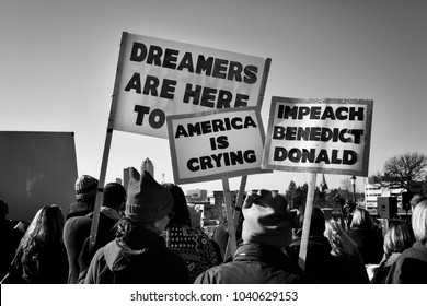 Des Moines, Iowa, USA - January 20, 2018: Dreamers Are Here - Protest sign seen at the Iowa Women's Rally at the Iowa State Capitol on January, 20, 2018.
