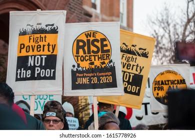 Des Moines, Iowa / USA - January 14, 2020: Fight Poverty Not the Poor protest at Drake University outside of the Democratic Debate in Des Moines, Iowa.