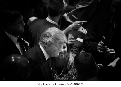 Des Moines, Iowa, USA - January 28, 2016: Republican candidate for President Donald Trump talks to supporters at a rally for veterans at Drake University's Sheslow Auditorium on January 28, 2016.