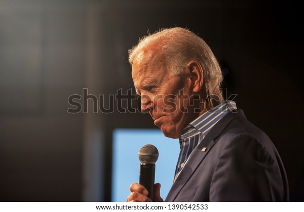 Des Moines, Iowa, USA. May 3, 2019 Presidential candidate and former Vice President Joe Biden (D - Delaware) makes a speech at a campaign stop at the River Center in Des Moines, Iowa.