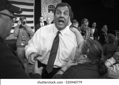 Des Moines, Iowa, USA - October 31, 2015: New Jersey Governor and Presidential Candidate Chris Christie shakes hands at a rally at the Iowa State Fair in Des Moines, Iowa on October 31, 2016.