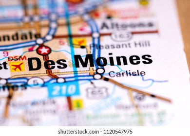 Des Moines. Iowa. USA on a map