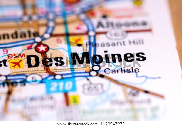Des Moines Iowa Usa On Map Stock Photo (Edit Now) 1120547975