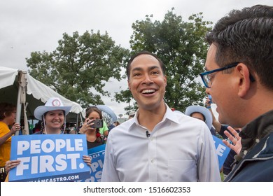 Des Moines, Iowa, USA September 21, 2019 Presidential candidate Julián Castro (D Texas) greets supporters at the Polk County Iowa Democrats annual Steak Fry in Des Moines, Iowa.