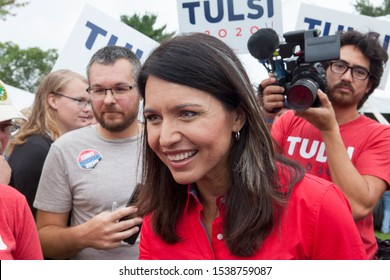 Des Moines, Iowa, USA September 21, 2019 Presidential candidate Tulsi Gabbard (D- Hawaii) speaks to supporters at the Polk County Iowa Democrats annual Steak Fry in Des Moines, Iowa.